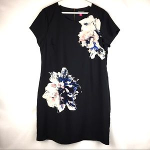 Vince Camuto Black Watercolor Floral Shift Dress